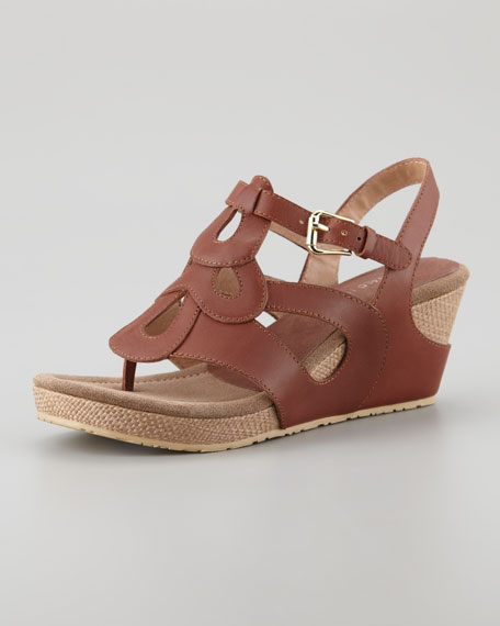 Golda Leather Raffia Wedge Sandal, Tobacco