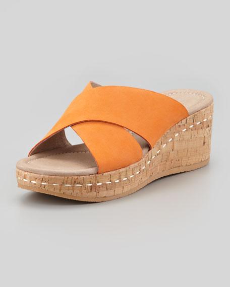 Nubuck Crisscross Wedge Slide, Tangerine