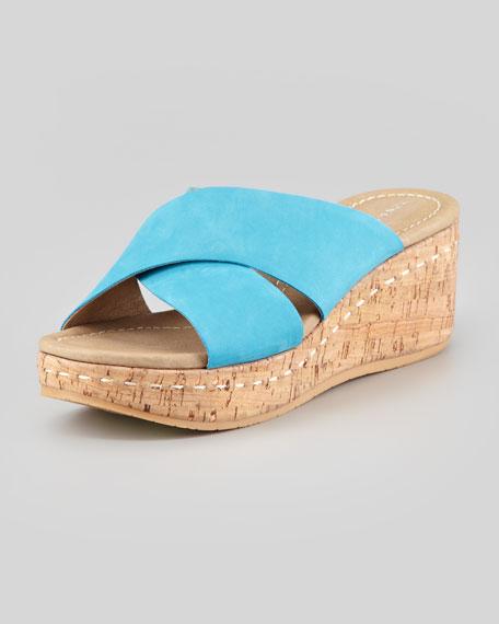 Syna Crisscross Cork Wedge Slide, Turquoise