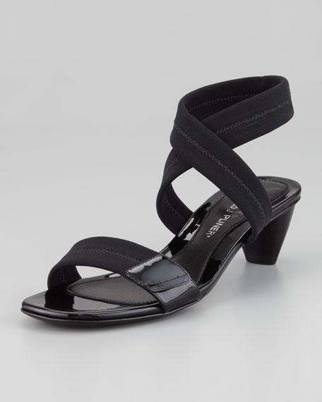 Halina Stretch Ankle-Wrap Sandal, Black