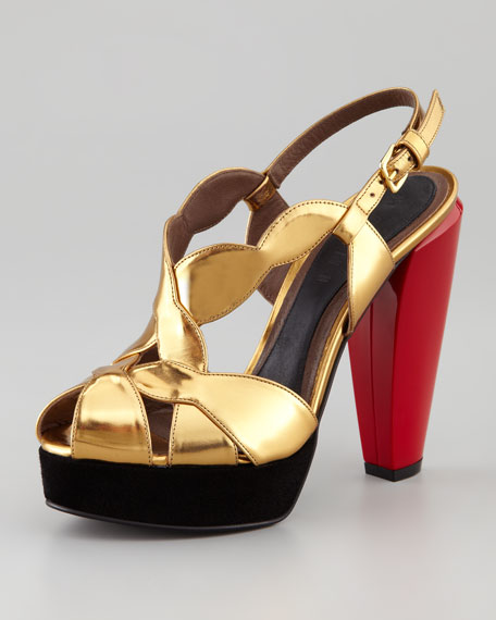 Lacquer-Heel Mirror Sandal