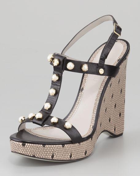 Jeweled T-Strap Wedge Sandal