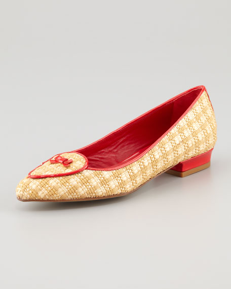Laura Woven Raffia Belgian Loafer, Red/Natural