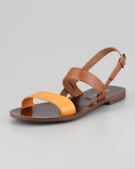 Stella Flat Colorblock Sandal, Brown/Clementine