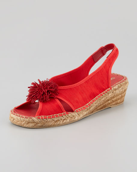 Dion Silk Espadrille Wedge, Red
