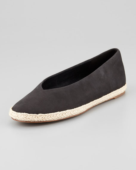 Tour Buffed Calfskin Espadrille Flat, Black
