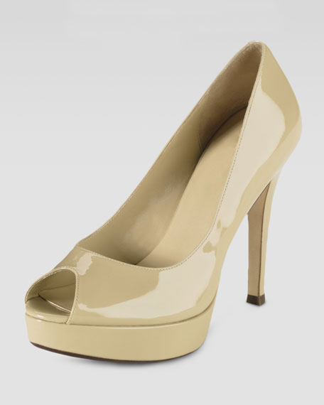 Mariela Air Open-Toe Pump, Nougat