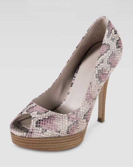 Air Mariela Open-Toe Snake-Print Pump