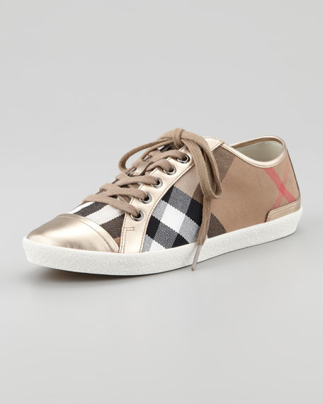 Check Canvas Metallic Low-Top Sneaker, Pale Gold