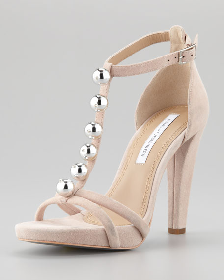 Sanaa T-Strap Runway Sandal, Nude