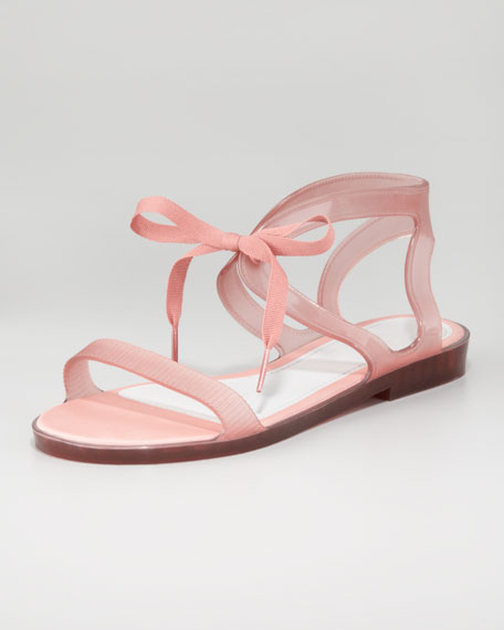 Artemis Ribbon-Tie Jelly Sandal