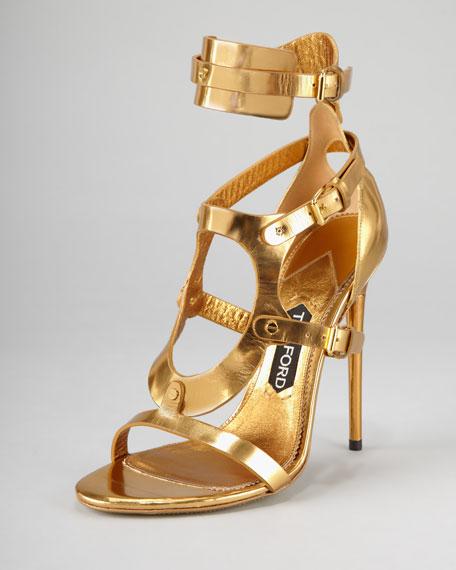 Tom Ford Triple-Buckle Metallic Sandal, Gold