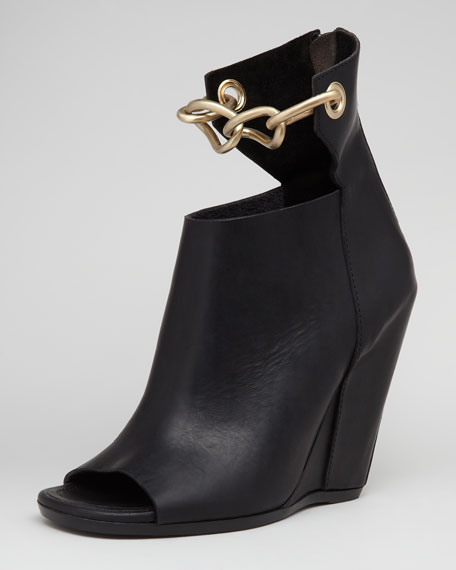 Chain-Strap Leather Wedge, Black