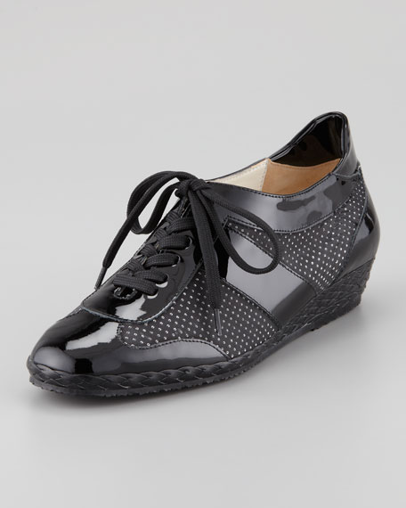 Tracy Perforated Patent Sneaker, Black