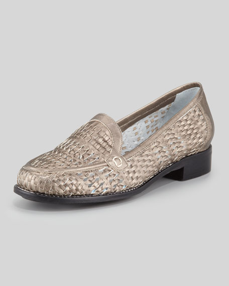 Alice Woven Metallic Leather Loafer, Pewter