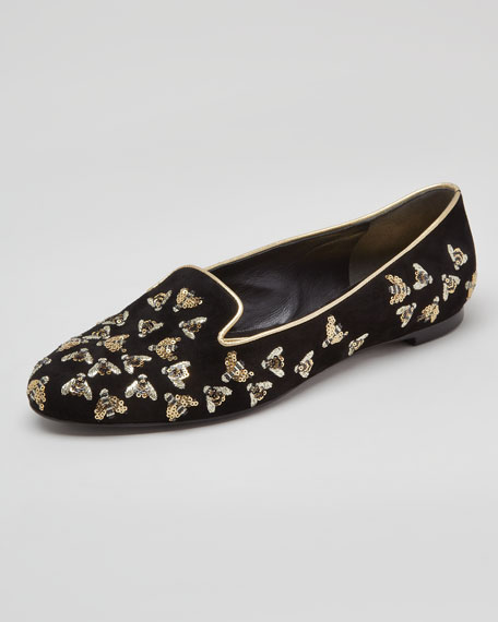 Bee-Embroidered Sequined Smoking Slipper, Black