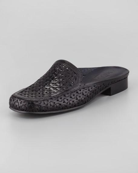 Myrtisa Woven Leather Slip-On Mule, Black