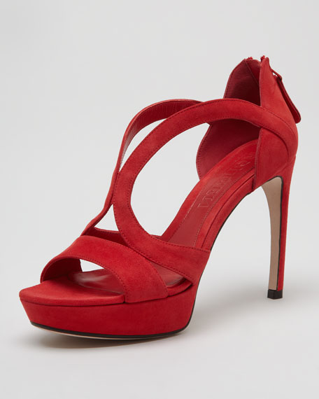 Low-Heel Double-Arched Suede Sandal, Red