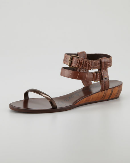 Crocodile-Embossed Mini Wedge Sandal