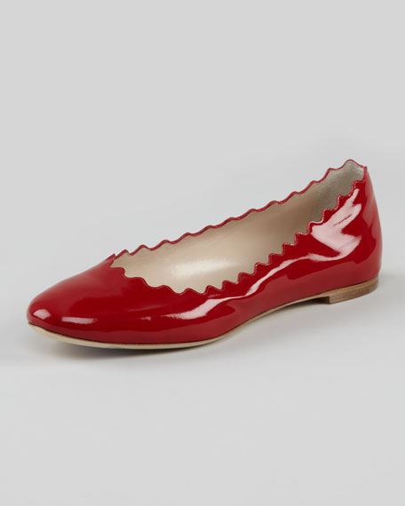 Scalloped Patent Leather Ballerina Flat, Red