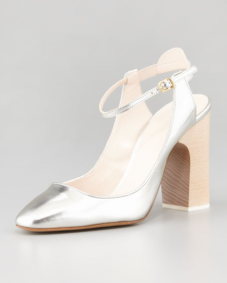 Metallic Leather Ankle-Strap Pump