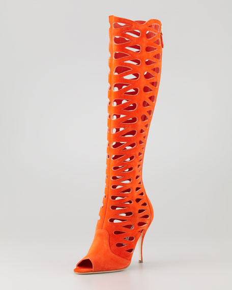 Brian Atwood Electra Suede Laser-Cut Open-Toe Boot