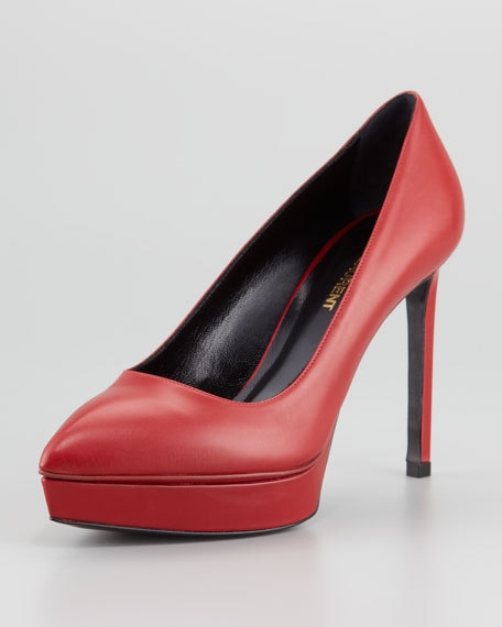Janis Pointed-Toe Platform Pump, Rouge