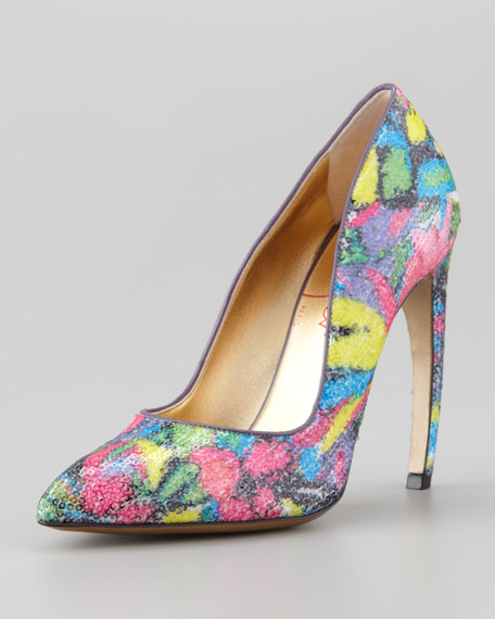 Sequin Pump With Bowed Heel