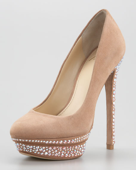 B Brian Atwood Francoise Crystal-Detail Suede Platform Pump
