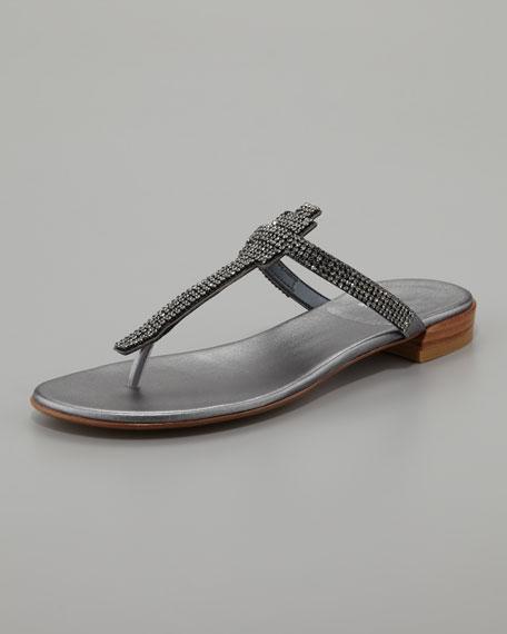 Vanity Jewel-Thong Sandal, Pewter