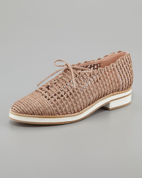 Stuart Weitzman Woven Round-Toe Oxfords cheap price buy discount free shipping best free shipping Inexpensive ivR8o