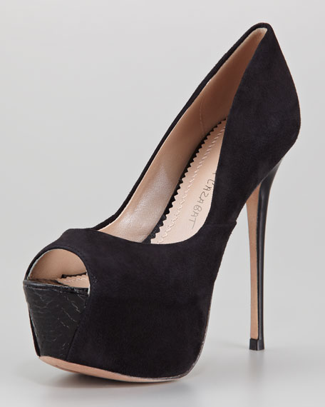 Zaza Suede Peep-Toe Pump, Black