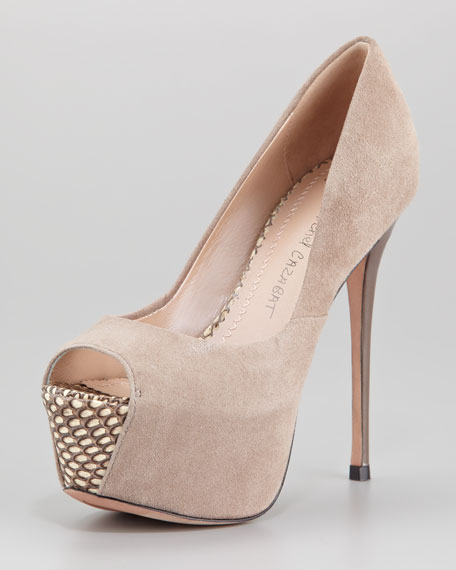 Zaza Suede Peep-Toe Pump, Clay