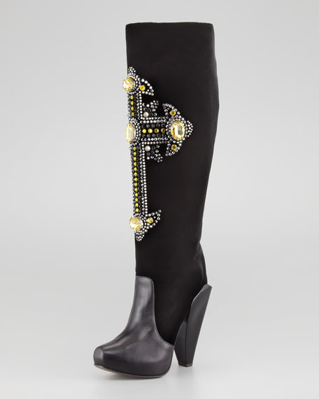 Crystal-Cross Knee Boot, Yellow Stone
