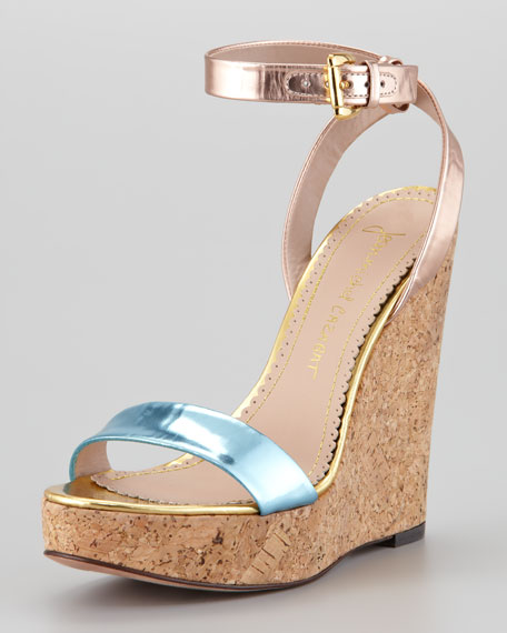 Wooster Mirrored Leather and Cork Wedge Sandal