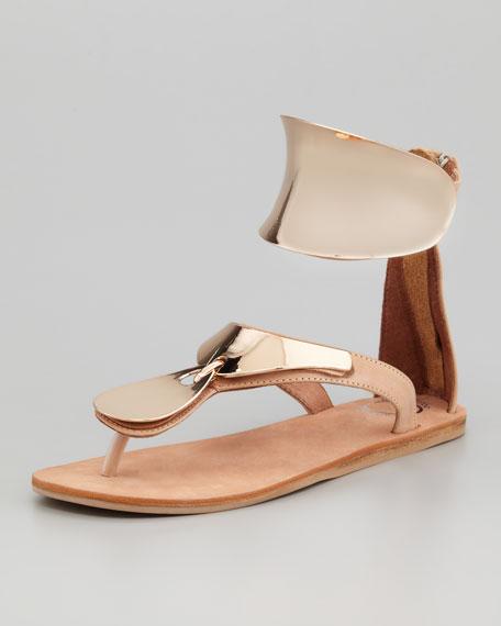 Congo Sandal, Beige/Gold