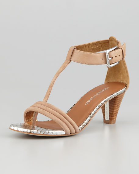 Viva Snake-Leather T-Strap Sandal