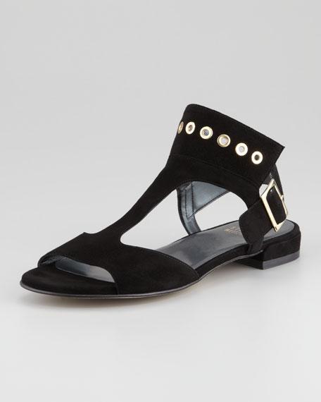 Cuffy T-Strap Grommet-Detail Sandal, Black