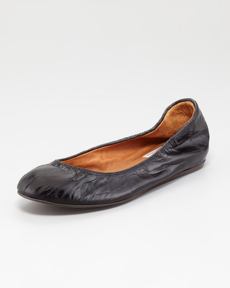 Scrunched Crocodile-Embossed Ballerina Flat