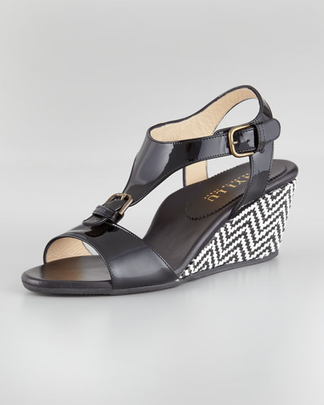 Lola T-Strap Buckle Wedge, Black