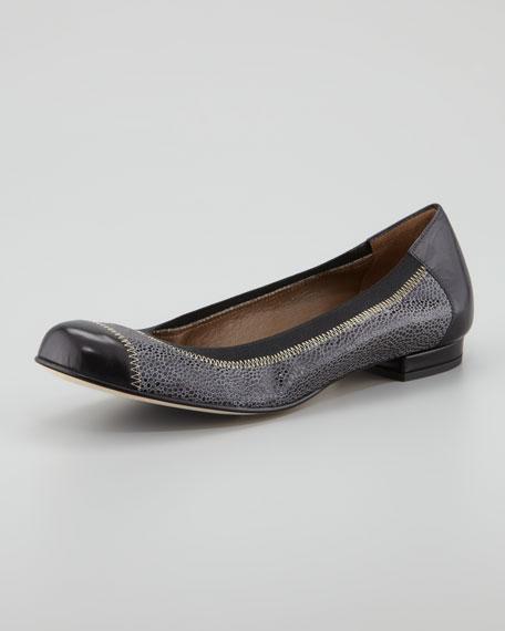 Cate Cap-Toe Reptile-Print Ballerina Flat, Black