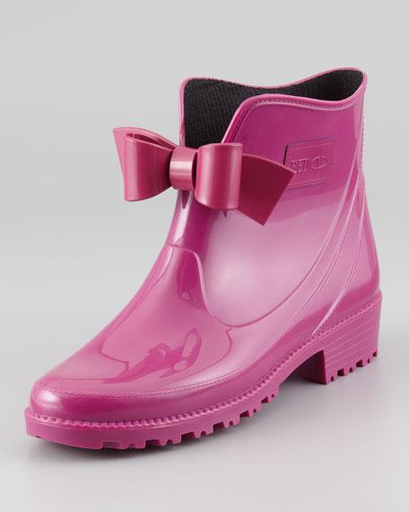 RED Valentino Bow-Front Short Rain Boot, Raspberry