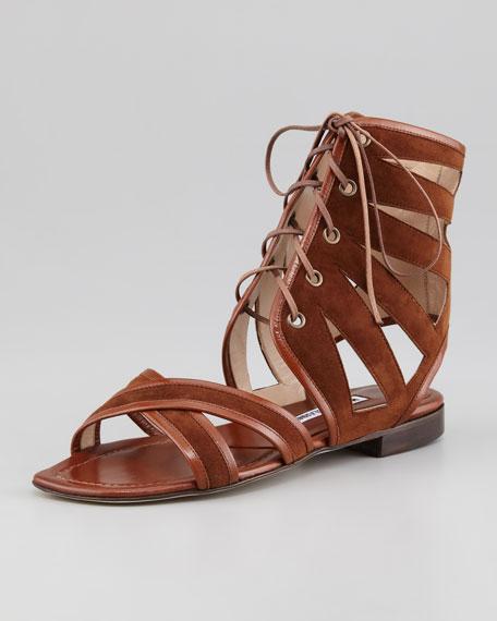 Vestalamod Suede Gladiator Sandal, Luggage