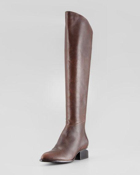 Sigrid Back-Zip Knee Boot, Brown