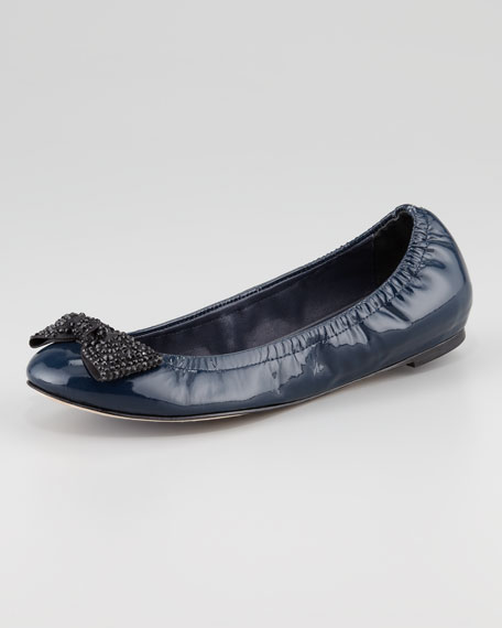 Dixon Patent Crystal Bow Scrunch Flat, Sapphire
