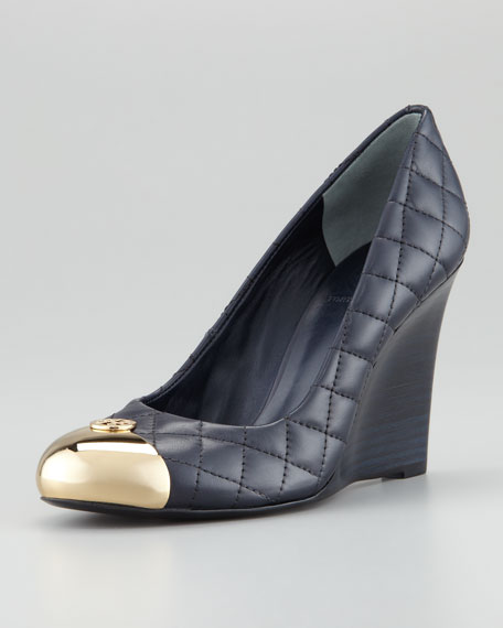 Kaitlin Quilted Leather Wedge Heel, Bright Navy