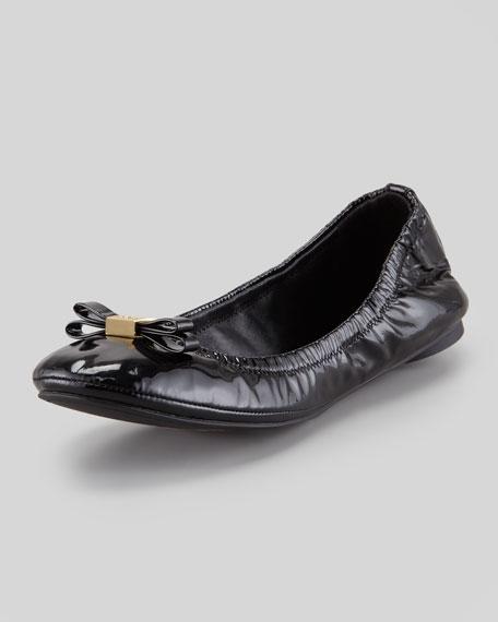 Eddie Logo Bow Patent Ballerina Flat, Black