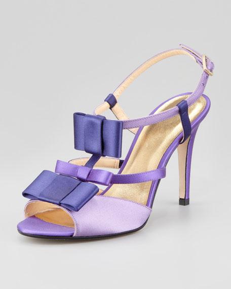 two-tone satin t-strap bow sandal