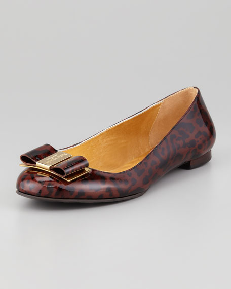 trophy bow patent leather flat, leopard