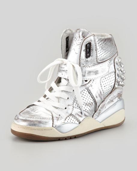 Freak Metallic Studded Sneaker, Silver